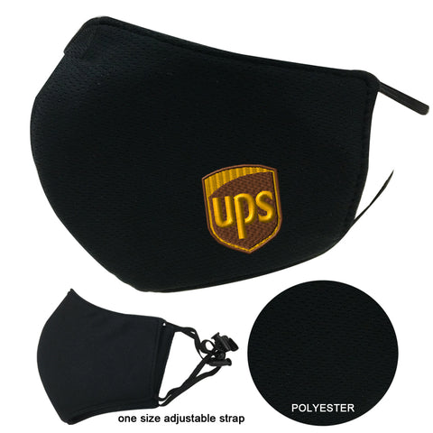 UPS Face Cover Mask Adult Black 3-Layers Polyester Adjustable