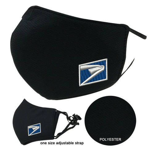 US Post Services Face Cover Mask Adult Black 3-Layers Polyester Adjustable
