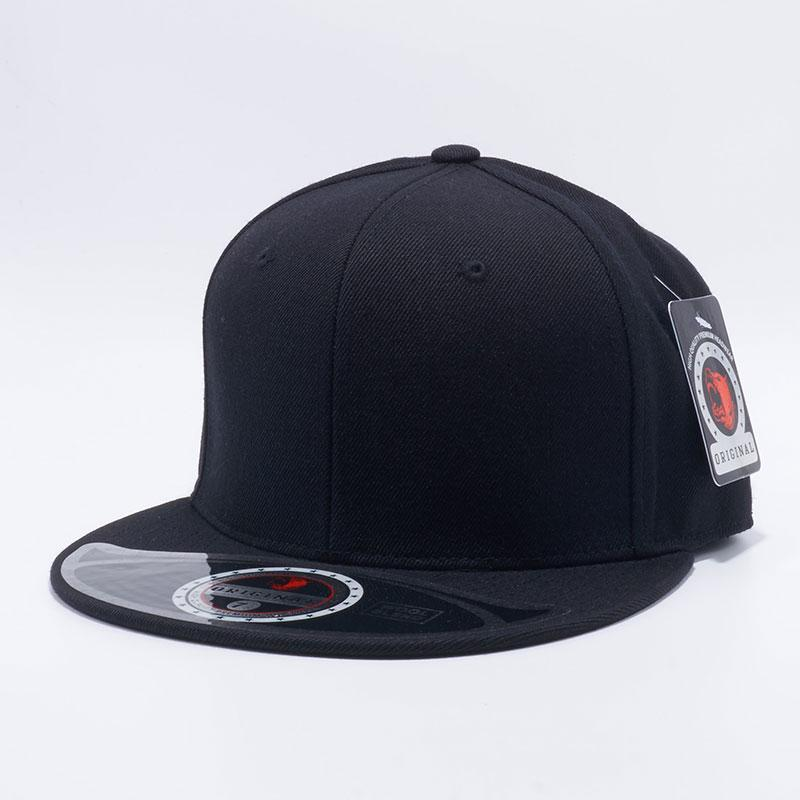 f0f3b8a672501 Black Premium Wool Blend Roud Visor Men Women Size Baseball Cap Fitted Hat