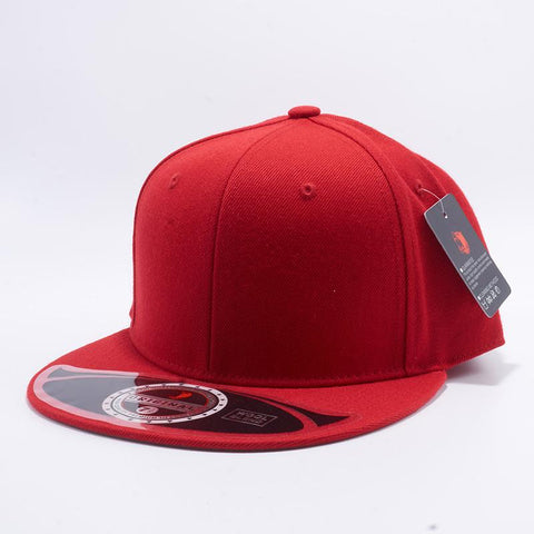 Red Premium Wool Blend Roud Visor Men Women Size Baseball Cap Fitted Hat