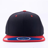 ( More Color ) 2tone Solid Color Premium Wool Semi Square Flat Bill Blank Baseball Cap Snapback Hat