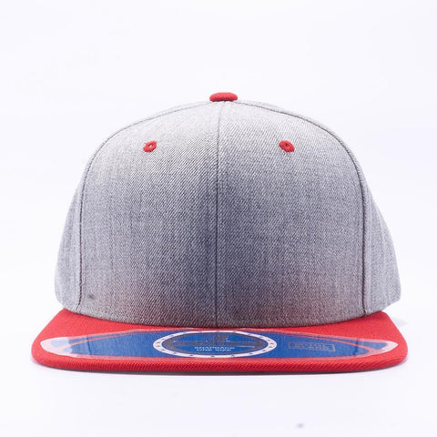 ( More Color )  Heather Premium Wool Semi Square Flat Bill Blank Baseball Cap Snapback Hat