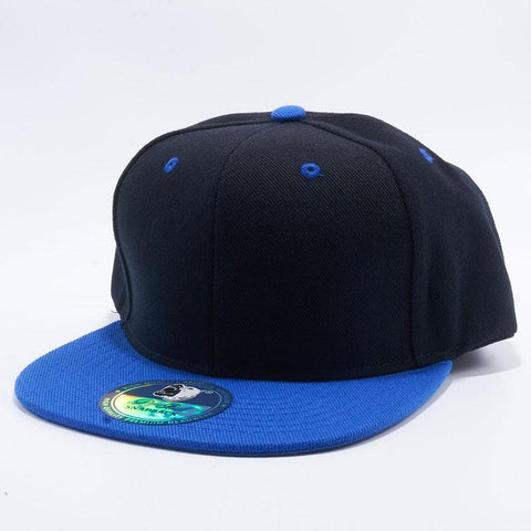( More Choice ) Men Women Black 2-tone Semi Square Flat Bill Plain Baseball Cap Blank Snapback Hat