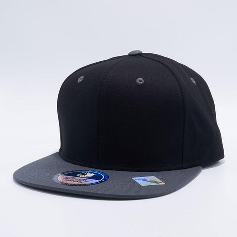 ( More Choice ) Black/Grey/White 2Tone Semi Square Flat Bill Cotton Plain Baseball Cap Blank Snapback Hat