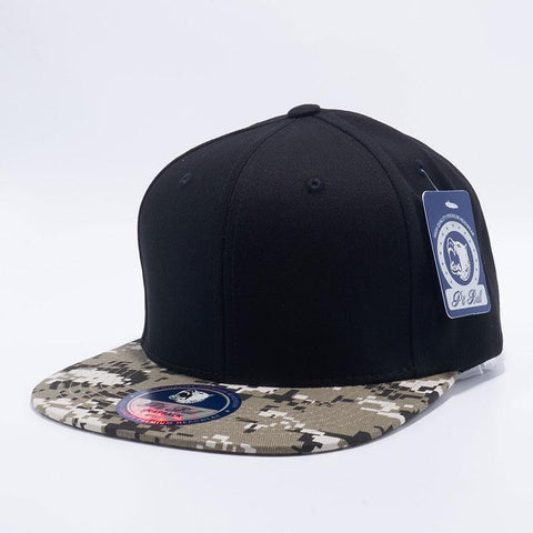 Men Women Black Camo Semi Square Flat Bill Plain Cap Blank Snapback Hat