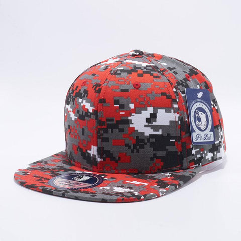 ( More Choice ) Men Women Camo Print Semi Square Flat Bill Plain 6Panel Cotton Baseball Cap Blank Snapback Hat