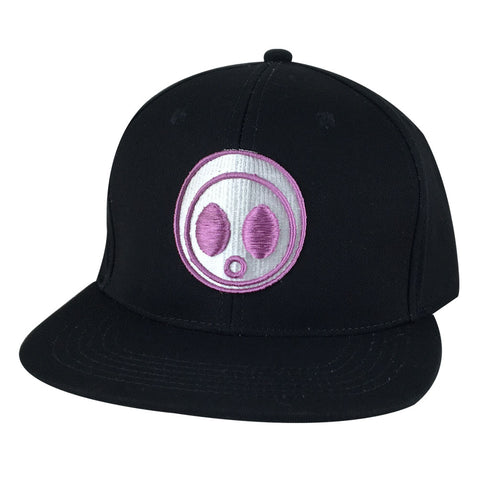 Classic Caprobot Face Logo Baseball Hat Snapback Cap - Black White Purple