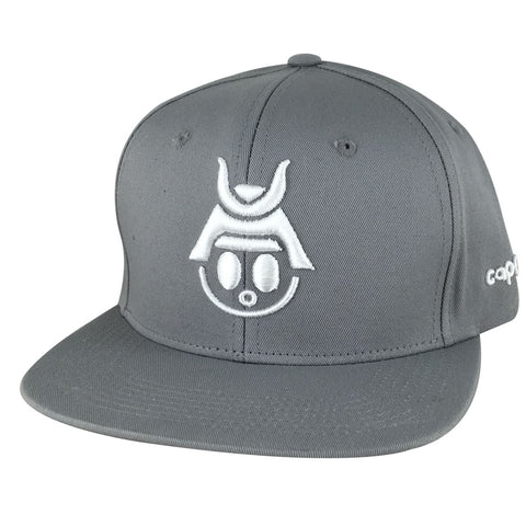 Caprobot Baby Samurai Basic 3D Cotton Baseball Cap Snapback Hat - Grey White