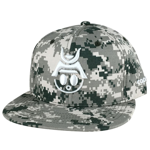 Caprobot Baby Samurai Digital Camouflage 3D Baseball Cap Snapback Hat - Forest Camo White
