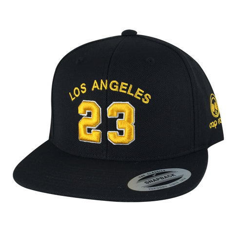 Favorite Player Jersey Number 23 Los Angeles Snapback Hat - Black Gold