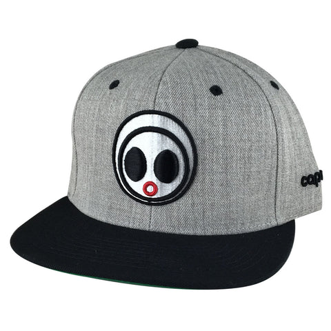 Classic Caprobot Face Logo Baseball Hat Snapback Cap - Heather Grey White Black Visor