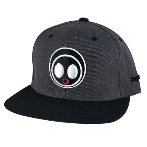 Classic Caprobot Face Logo Baseball Hat Snapback Cap - Heather Graphite White Black Visor