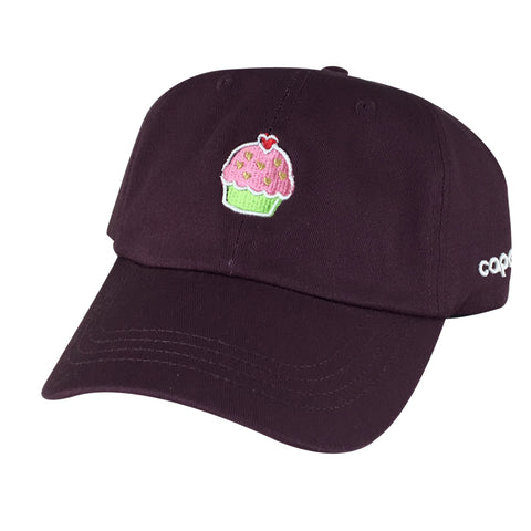 Pink Heart Cupcake Lover Unstructured Baseball Cap Cotton Dad Hat - Wine Red