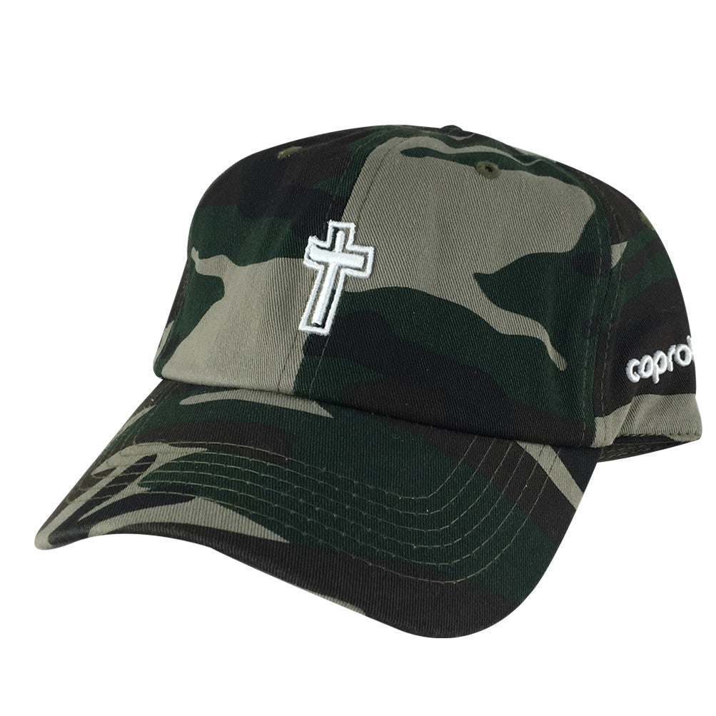680c6d6c Jesus 3D Cross Church Hat Dad Cap - Woodland Camo