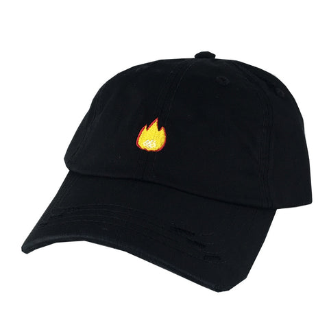 Emoji On Fire Flame Hat Dad Cap