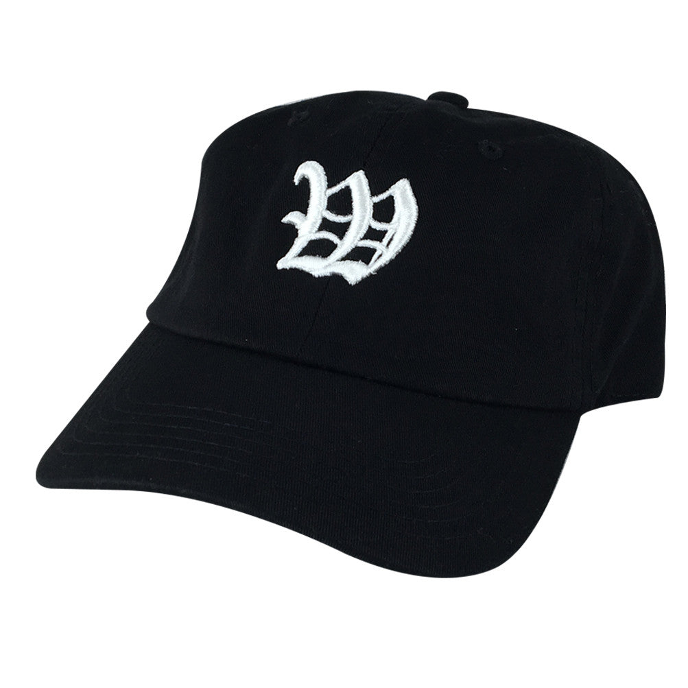 5e74497b3db DIY Old English A-Z Letter Custom 3D Embroidery Unstructured Baseball Hat  Dad Cap - Black Cotton