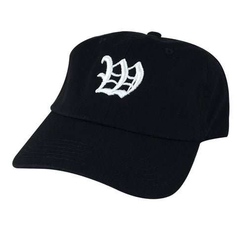 DIY Old English A-Z Letter Custom 3D Embroidery Unstructured Baseball Hat Dad Cap - Black Cotton