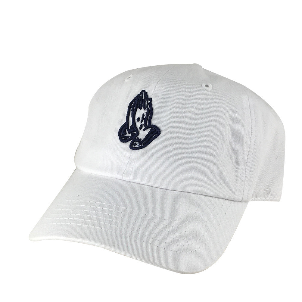 bfe1cded7bc 3D Pray Hand Snapback Hat Dad Cap by CapRobot - White Navy Blue –  CapRobot.com