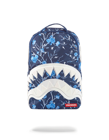 Sprayground Backpack x Sharks Mouth Cherry Blo$$om Rubber ( Navy Blue )