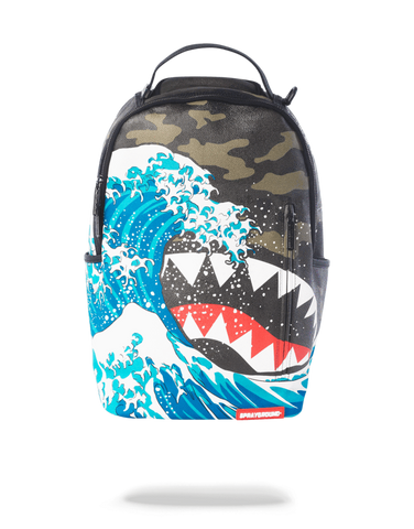 Sprayground Backpack x Sharks Mouth Camokawa Wave ( Woodland Camo )