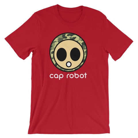 ( More Color ) Caprobot Classic Woodland Camo Face Short Sleeve T-Shirt - Dark Tone