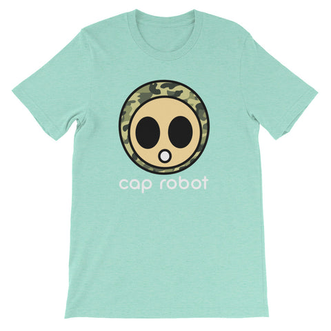 ( More Color ) Caprobot Classic Woodland Camo Face Short Sleeve T-Shirt - Heather Tone