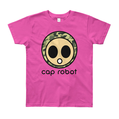 ( More Color ) Youth Caprobot Classic Woodland Camo Face Short Sleeve T-Shirt Tee