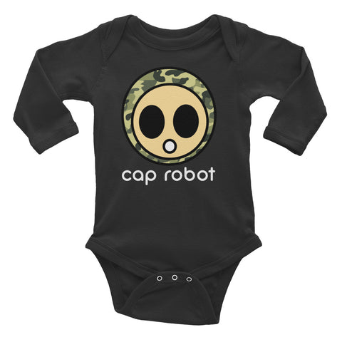 Caprobot Classic Woodland Camo Face Infant Long Sleeve Bodysuit - Black