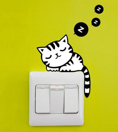CURIOUS CAT WALL SWITCH DECAL Instyle Home Decor