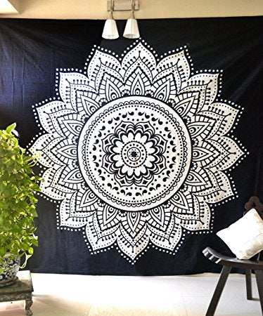 Black White Mandala Wall Tapestry Instyle Home Decor