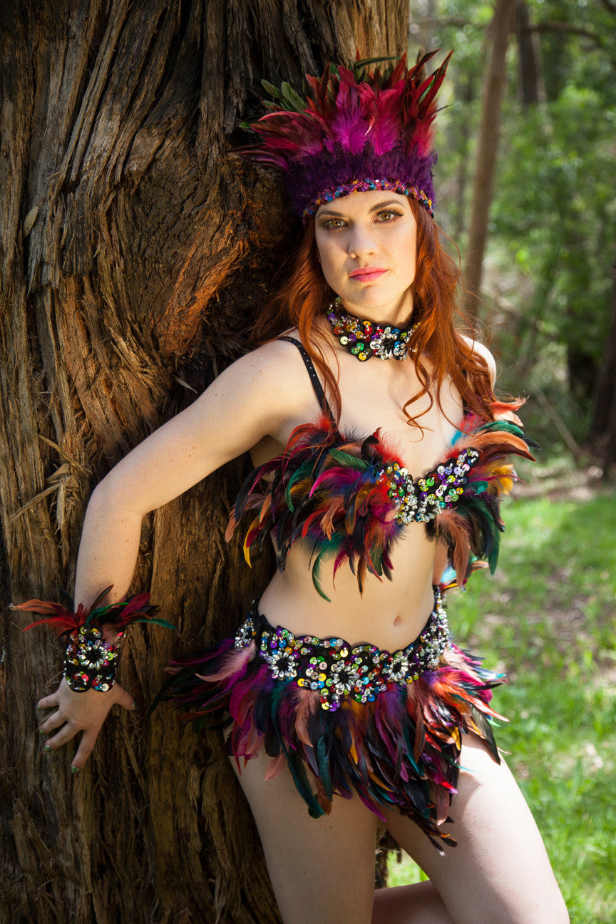 TAURUS Feather and Sequinned Bra and Belt