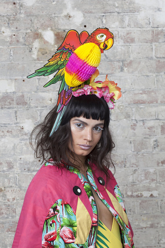 CIARA MONAHAN Tropical Parrot Headpiece with Fold Away Body