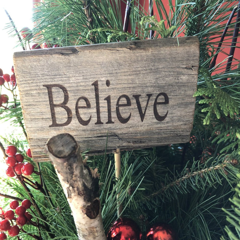 Rustic Cedar Sign Pick, Believe-Simple and Grand-Default-Simple and Grand