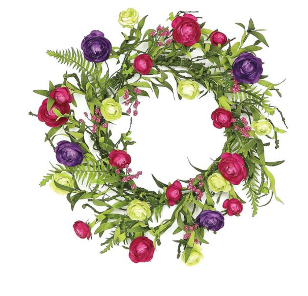 "Ranunculus & Wild Berry Silk Wreath, 20""-Seasonal Decor-Simple and Grand-Simple and Grand"