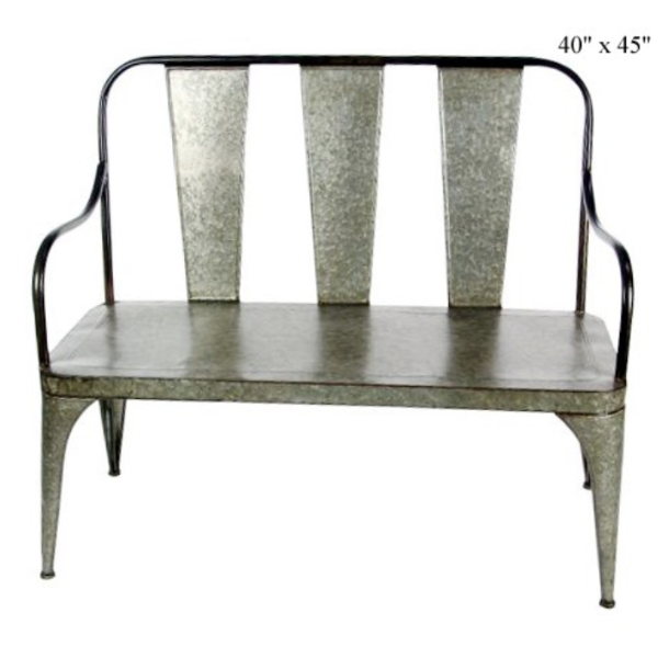 "Galvanized Bench, 40"" x 45""-Simple and Grand-Simple and Grand"