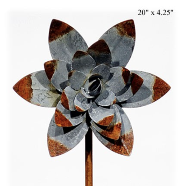 "Rusty Water Lily Pick, 20""-Seasonal Decor-Simple and Grand-Default-Simple and Grand"