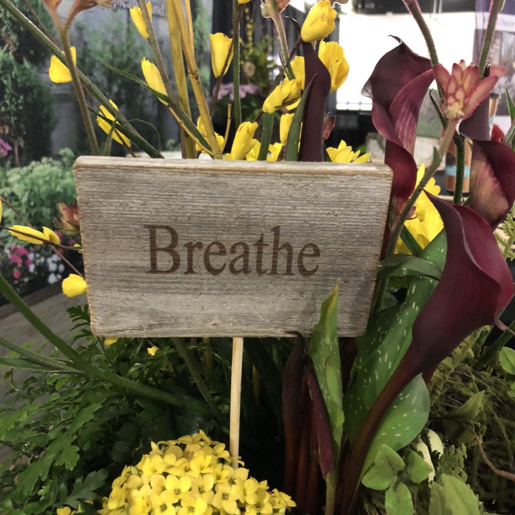 Rustic Cedar Sign Pick, Breathe-Simple and Grand-Default-Simple and Grand