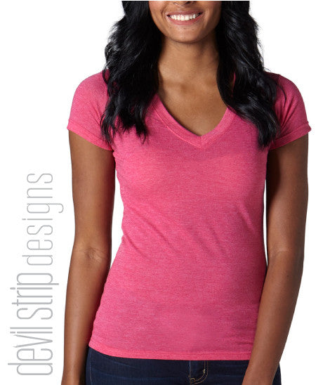 244T Ladies Heather V-Neck