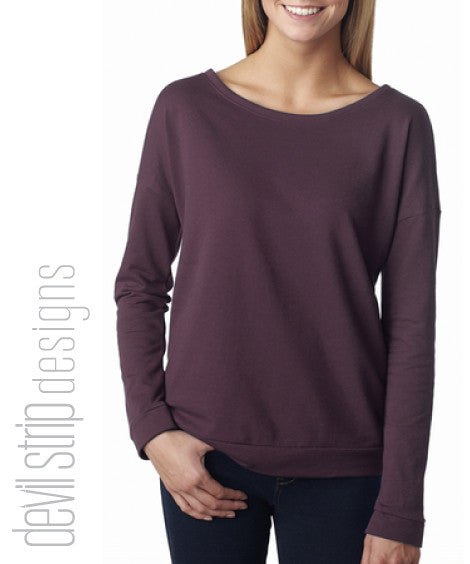 6931 Ladies Long Sleeve Swoop Neck French Terry