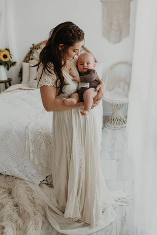 Maternity Gowns - Boho/Lifestyle Calico with Lace Sleeves and Panels (please message to order now)