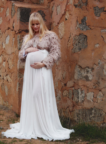 Maternity Sets - Crop Faux Fur Jacket and Chiffon Skirt