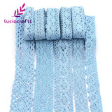 Blue Cotton Embroidered Lace. 1.5 metres assorted patterns and width. - Pikki Designs