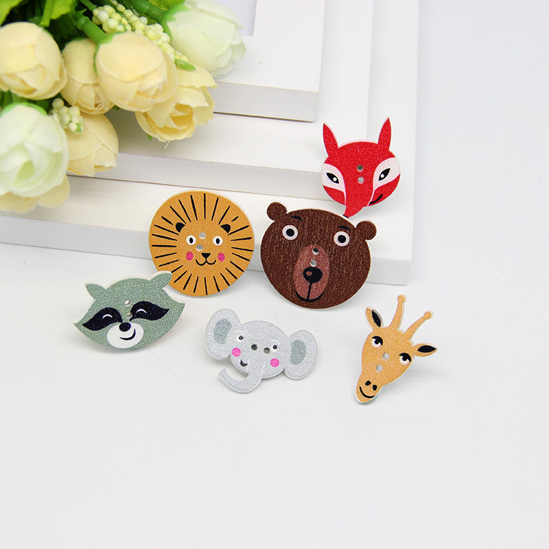 Multicolor 50pcs 2 Holes Mixed Animal  Wooden decorative Buttons - Pikki Designs