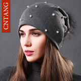 Fashion Beanies Natural Raccoon Fur Pompom - Pikki Designs