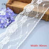 9 metres beautiful white lace ribbon assorted widths - Pikki Designs
