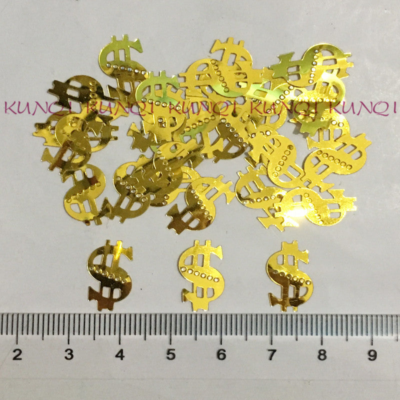 8 x 17mm US Dollar Golden Sequin - Pikki Designs