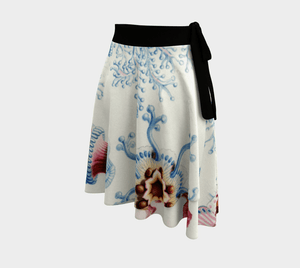 Ernst Dragon Ocean Flowers Wrap Around Skirt