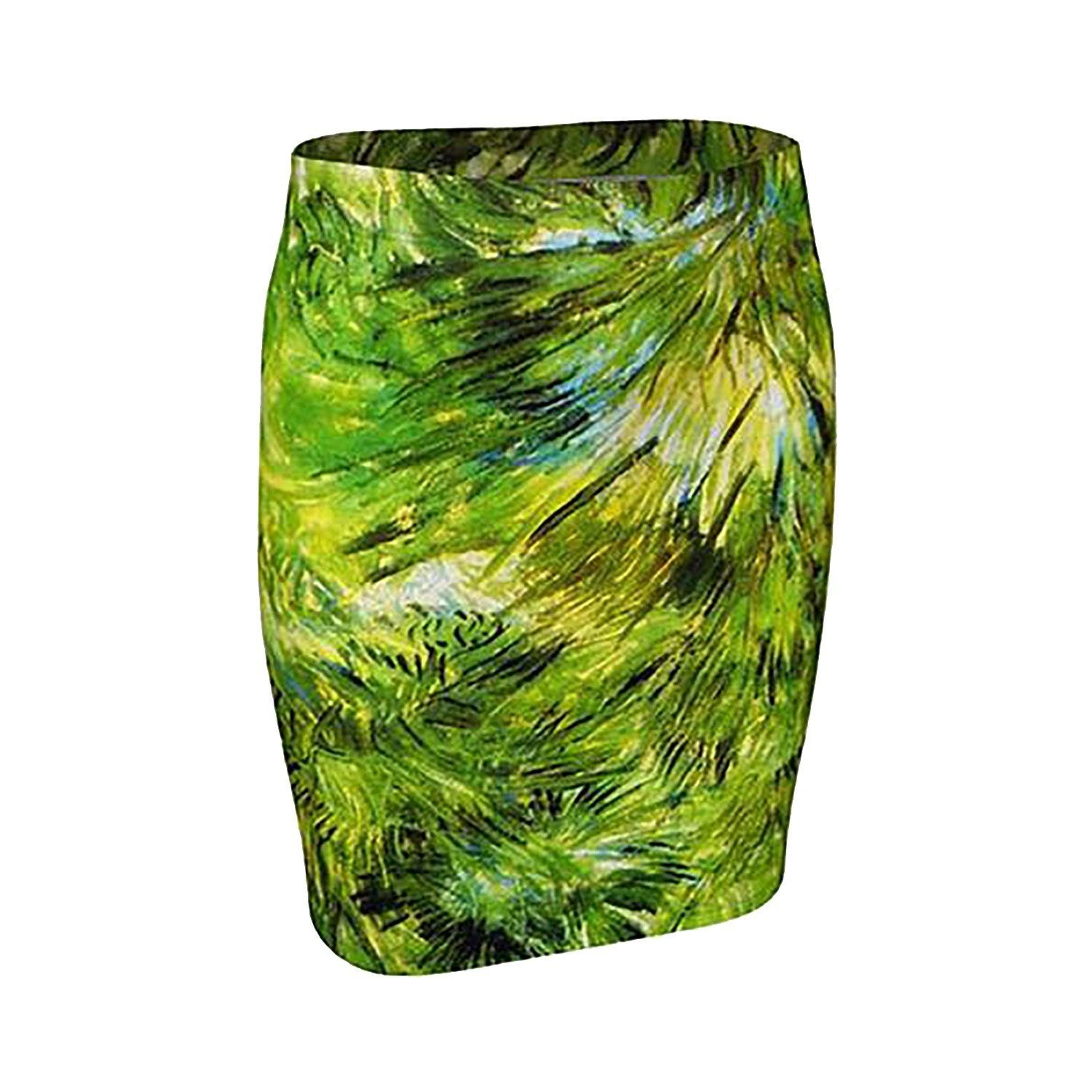 Vincent Dragon Van Go Go Grass Pencil Skirt