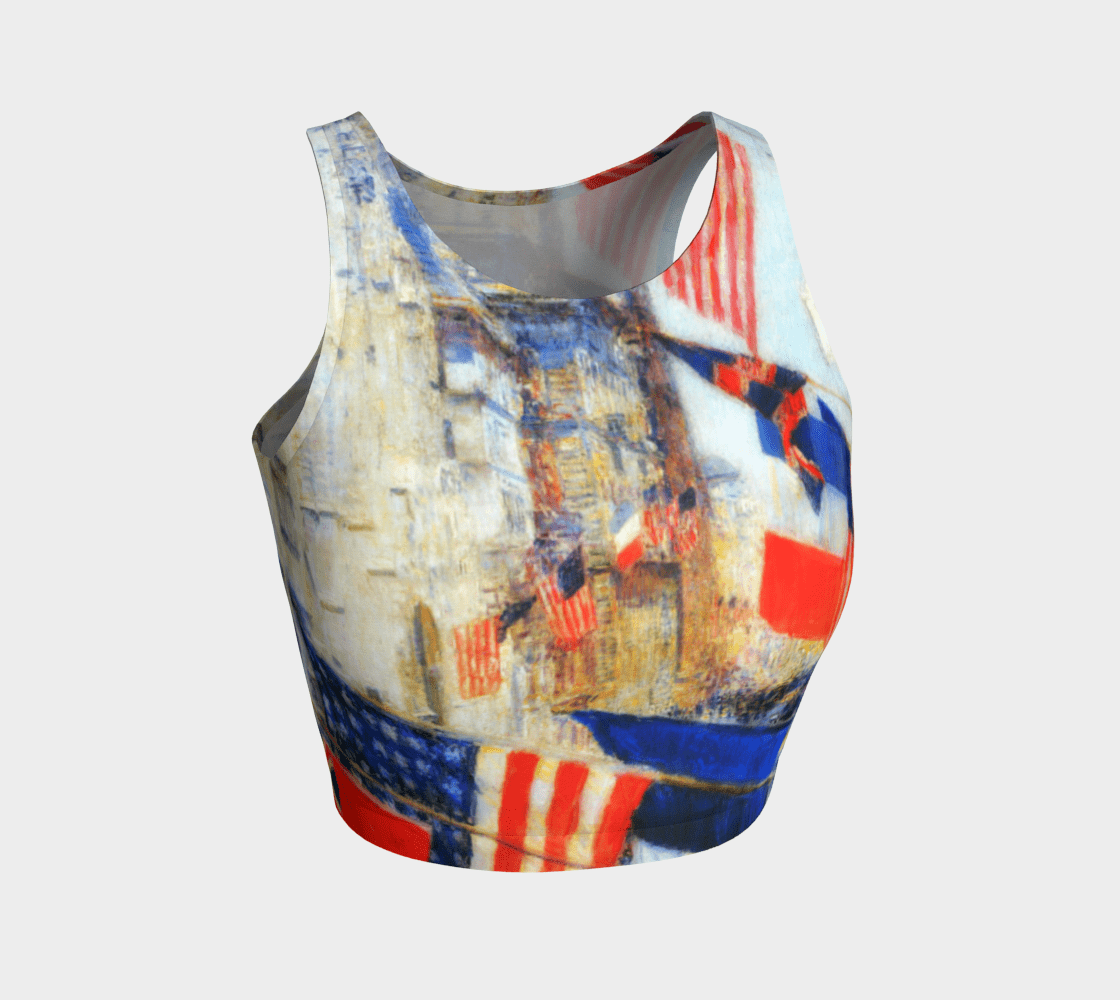 Franco American Dragon Many Flags Athleisure Crop Top