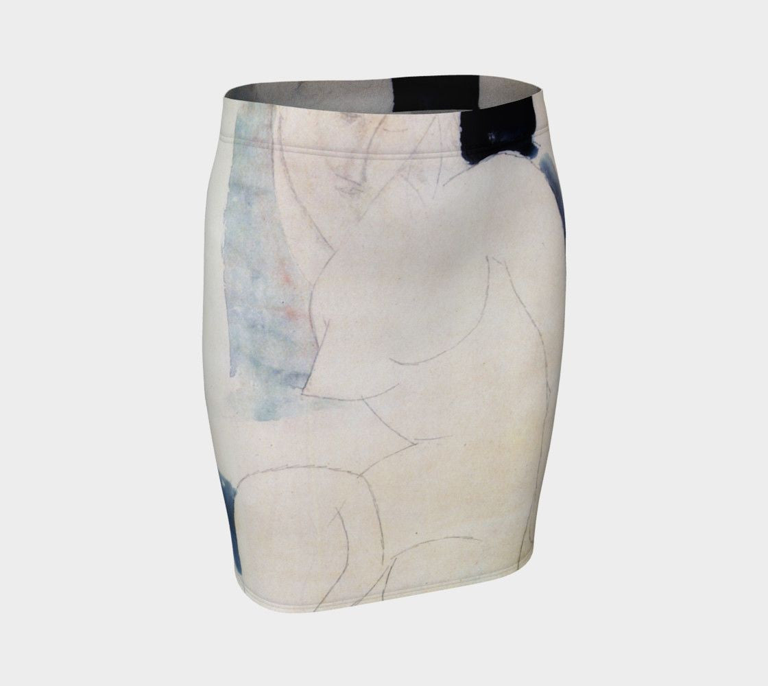 Amedeo Dragon Ghost Curve Pencil Skirt
